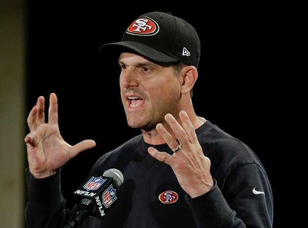San Francisco 49ers head coach Jim Harbaugh talks with reporters during a news conference on Monday, Jan. 28, 2013, in New Orleans. The 49ers are scheduled to play the Baltimore Ravens in the NFL Super Bowl XLVII football game on Feb. 3. (AP Photo/Mark Humphrey) Photo: Mark Humphrey, Associated Press / AP