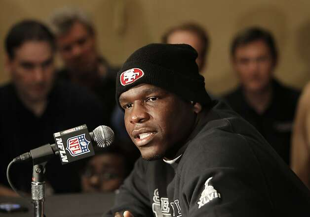 Running back Frank Gore speaks with reporters as the San Francisco 49ers hold their daily press conference at the New Orleans Marriott hotel in New Orleans, Louisiana  on Monday Jan. 28,  2013. 49er Photo: Michael Macor, The Chronicle