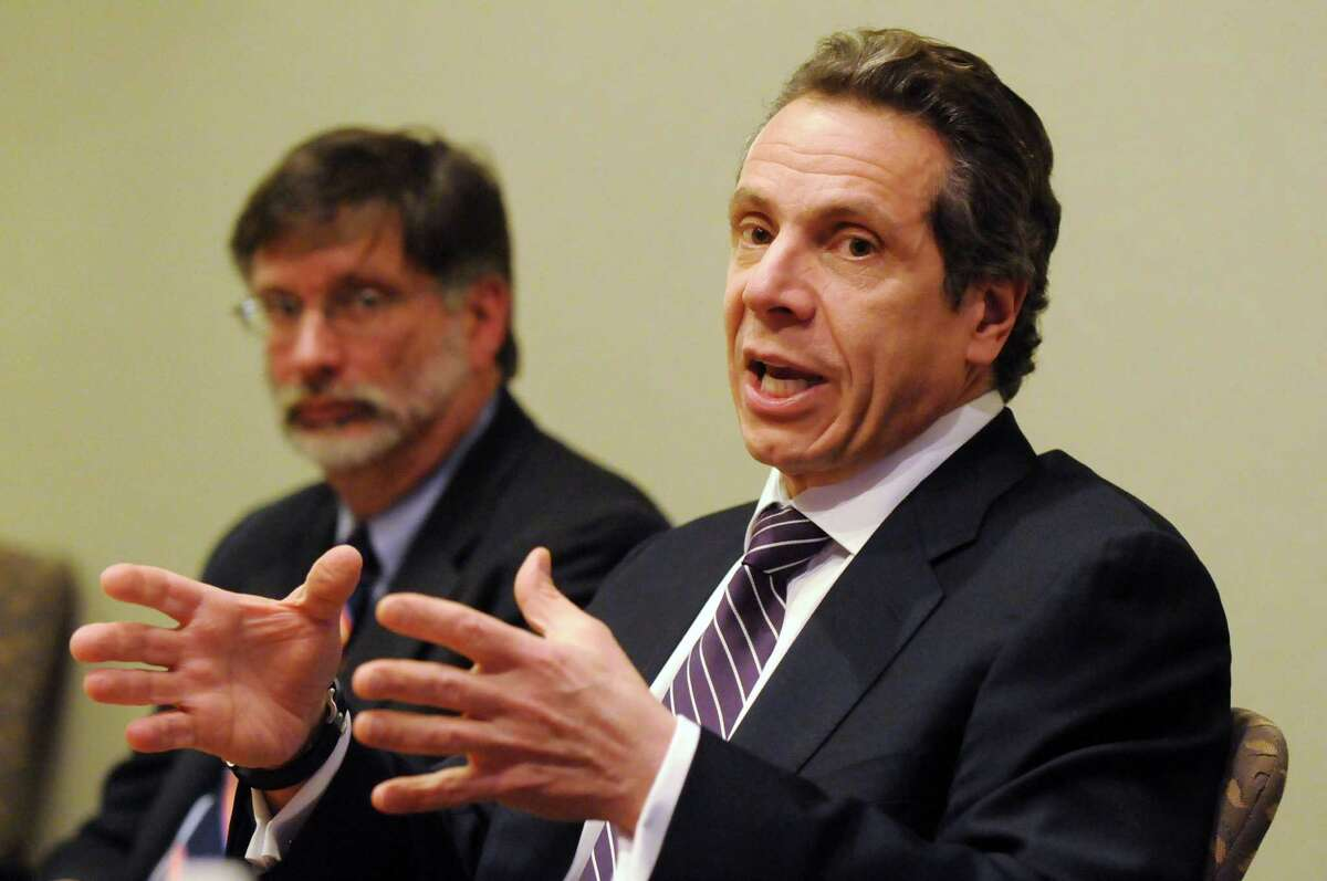 Gov. Andrew Cuomo speaks during a Times Union editorial board meeting Monday afternoon, Jan. 28, 2013. (Will Waldron /Times Union)