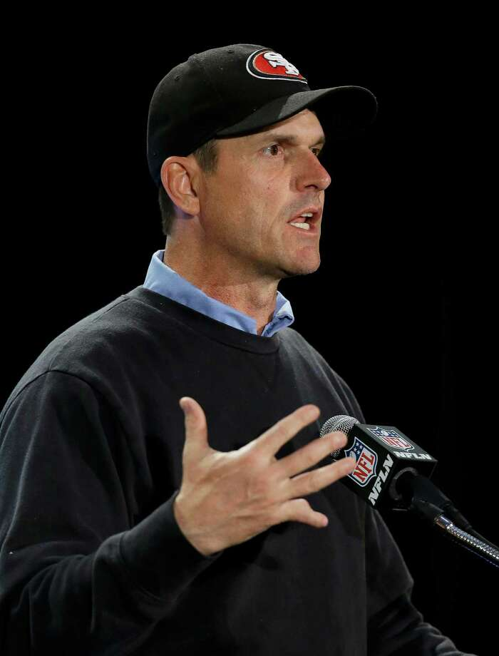 San Francisco 49ers head coach Jim Harbaugh talks with reporters during a news conference on Sunday, Jan. 27, 2013, in New Orleans. The 49ers will face the Baltimore Ravens in the NFL Super Bowl XLVII football game on Feb. 3. (AP Photo/Mark Humphrey) Photo: Mark Humphrey
