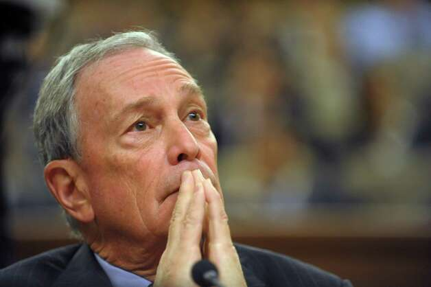New York Mayor Michael Bloomberg listens to a legislator's question at the Legislative Office Building during a legislative budget hearing on Monday, Jan. 28, 2013 in Albany, NY.  (Paul Buckowski / Times Union) Photo: Paul Buckowski  / 00020929A