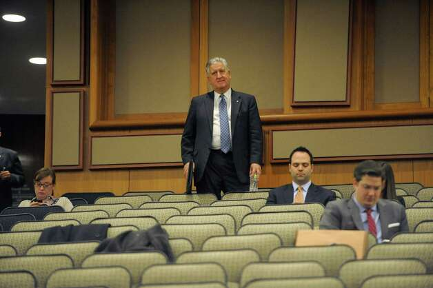 Albany Mayor Jerry Jennings stands in the back of the hearing room as he waits his turn to address legislators at the Legislative Office Building during a budget hearing on Monday, Jan. 28, 2013 in Albany, NY.  (Paul Buckowski / Times Union) Photo: Paul Buckowski  / 00020929A