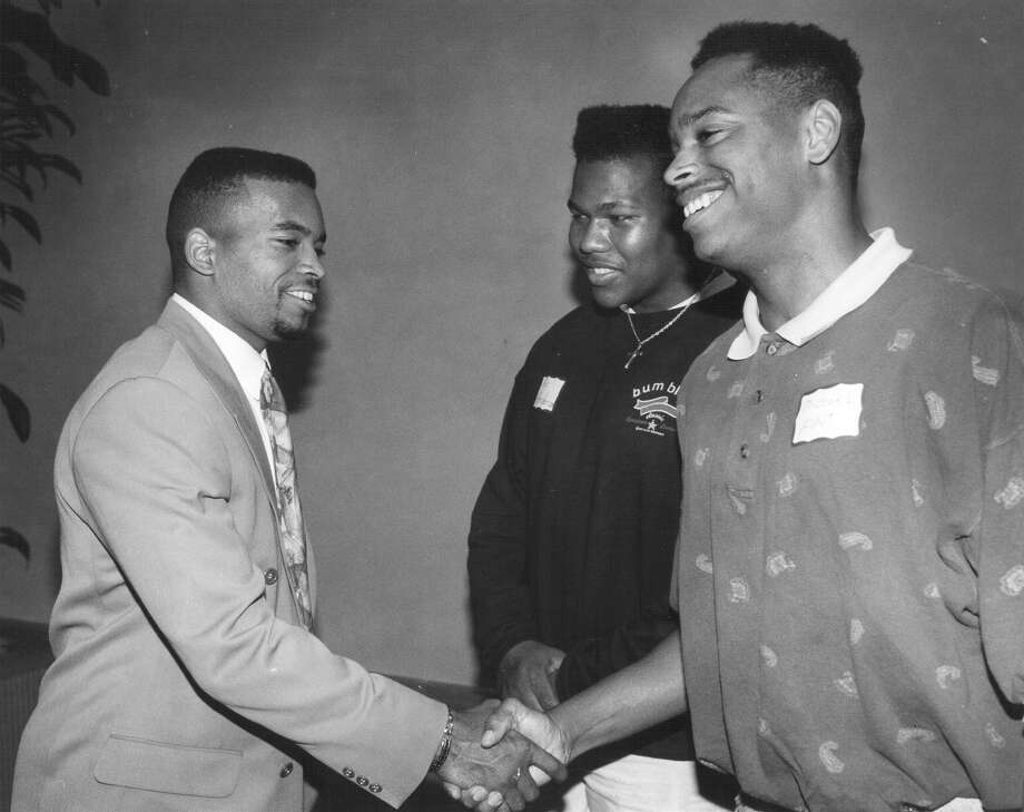 A.J. Johnson, Clemens High SchoolJohnson, a cornerback with the Washington Redskins, won Super Bowl XXII (1988) against the Denver Broncos.  PHOTO: Johnson, a former player for the Redskins, shakes hands with West Campus football players Eric Henderson and Michael Hunt at a banquet for players in the East-West San Antonio High School All-Star football game on May 21, 1992. Photo: San Antonio Express-News File Photo