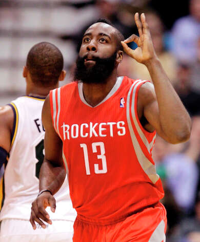 Rockets shooting guard James Harden celebrates a 3-pointer in the third quarter. Photo: Rick Bowmer