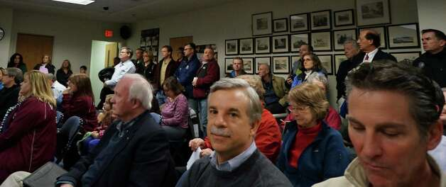 A large crowd was on hand Monday night to hear First Selectman Michael Tetreau deliver his State of the Town address to the Representative Town Meeting.   FAIRFIELD CITIZEN, CT 1/28/13 Photo: Genevieve Reilly / Fairfield Citizen