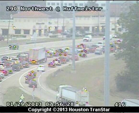 Traffic was snarled on the eastbound Northwest freeway near Telege during rush hour Tuesday morning. Photo: Houston Transtar