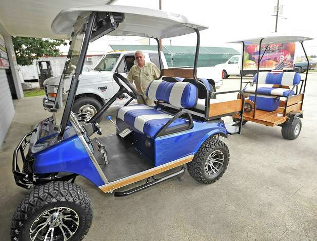 George Murray, a Nederland resident owns this tricked out 2004 Club Car DS. He even pulls a custom made trailer behind it. The tires are mudders mounted on custom aluminum wheels with the fronts being a little bit wider then the rears for stability. The culture of golf carts. People love to drive them in places other then just golf courses. Many people actually know you have to have a driver's license to operate it, but, do they know about all the laws pertaining to the golf carts, for instance, you could get a DWI while driving one.  Dave Ryan/The Enterprise