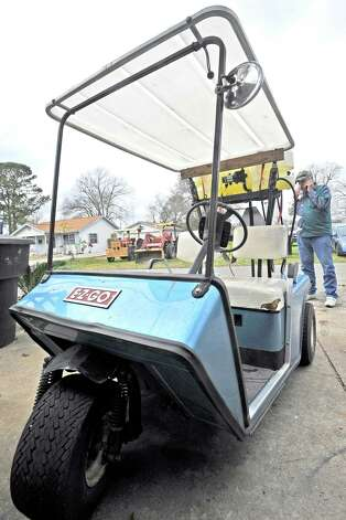 Richard Hoffpauir, a Nederland resident, has his golf cart decked out with a weed fighting pump sprayer with a tank.  His 1985 E-Z-Go is a version that has only three wheels instead of the four.The culture of golf carts. People love to drive them in places other then just golf courses. Many people actually know you have to have a driver's license to operate it, but, do they know about all the laws pertaining to the golf carts, for instance, you could get a DWI while driving one.  Dave Ryan/The Enterprise