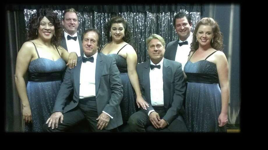 "The cast of ""A Little Less Conversation...A Little More Vegas,"" features (back row, from left) Mark Tubbs, Whitney Peters Vargas, Matthew Elizondo and (front from left) LiGaya, Tim Miller, Michael Berlet and Renee Scheel. Courtesy Carmack Performing Arts Center."