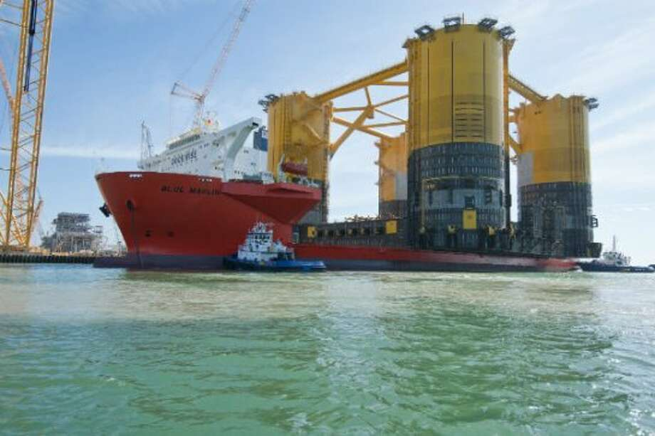 Shell Offshore Inc.'s Olympus hull completed a 18,272-mile journey to Ingleside, Texas on Jan. 26, 2013. It took two months for the structure to travel from South Korea. It was transported on the Blue Marlin, a vessel with a 26-person crew. Photo: Shell Offshore