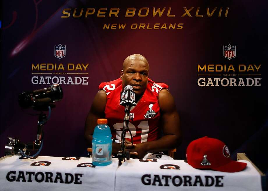 Frank Gore of the San Francisco 49ers answers questions from the media during Super Bowl XLVII Media Day ahead of Super Bowl XLVII at the Mercedes-Benz Superdome on January 29, 2013 in New Orleans, Louisiana. Photo: Chris Graythen, Getty Images