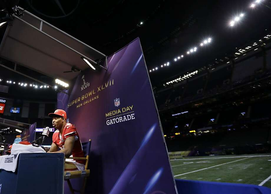 San Francisco 49ers cornerback Carlos Rogers speaks during media day for the NFL Super Bowl XLVII football game Tuesday, Jan. 29, 2013, in New Orleans. Photo: Pat Semansky, Associated Press
