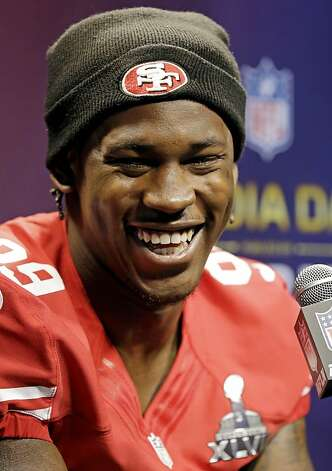 San Francisco 49ers linebacker Aldon Smith smiles as he answers a question during media day for the NFL Super Bowl XLVII football game Tuesday, Jan. 29, 2013, in New Orleans. Photo: Pat Semansky, Associated Press
