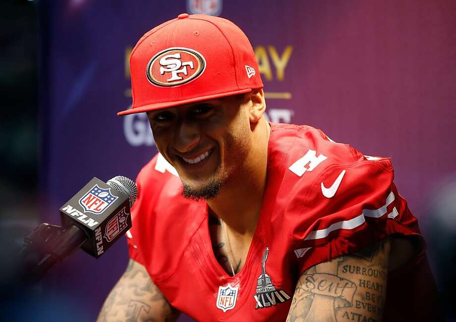 Colin Kaepernick of the San Francisco 49ers answers questions from the media during Super Bowl XLVII Media Day ahead of Super Bowl XLVII at the Mercedes-Benz Superdome on January 29, 2013 in New Orleans, Louisiana.  Photo: Chris Graythen, Getty Images