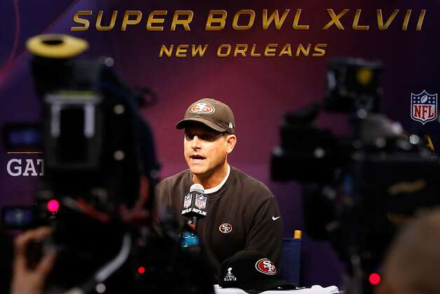 Head coach Jim Harbaugh of the San Francisco 49ers answers questions from the media during Super Bowl XLVII Media Day ahead of Super Bowl XLVII at the Mercedes-Benz Superdome on January 29, 2013 in New Orleans, Louisiana. The San Francisco 49ers will take on the Baltimore Ravens on February 3, 2013 at the Mercedes-Benz Superdome. Photo: Scott Halleran, Getty Images