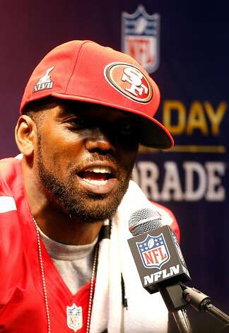 Randy Moss of the San Francisco 49ers answers questions from the media during Super Bowl XLVII Media Day ahead of Super Bowl XLVII at the Mercedes-Benz Superdome on January 29, 2013 in New Orleans, Louisiana. Photo: Chris Graythen, Getty Images