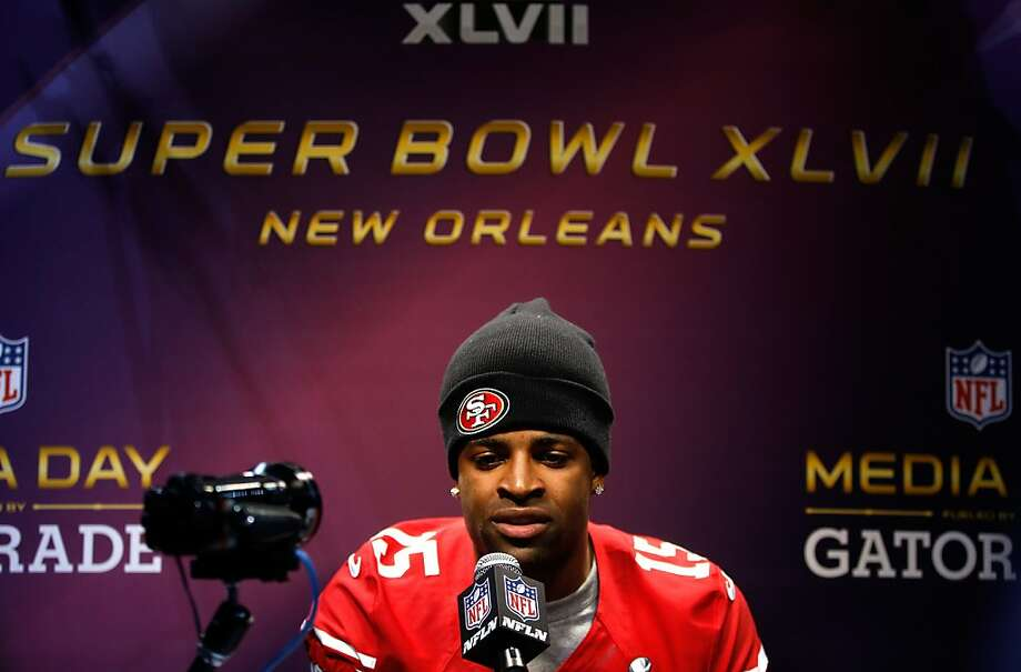 Michael Crabtree of the San Francisco 49ers answers questions from the media during Super Bowl XLVII Media Day ahead of Super Bowl XLVII at the Mercedes-Benz Superdome on January 29, 2013 in New Orleans, Louisiana. Photo: Chris Graythen, Getty Images
