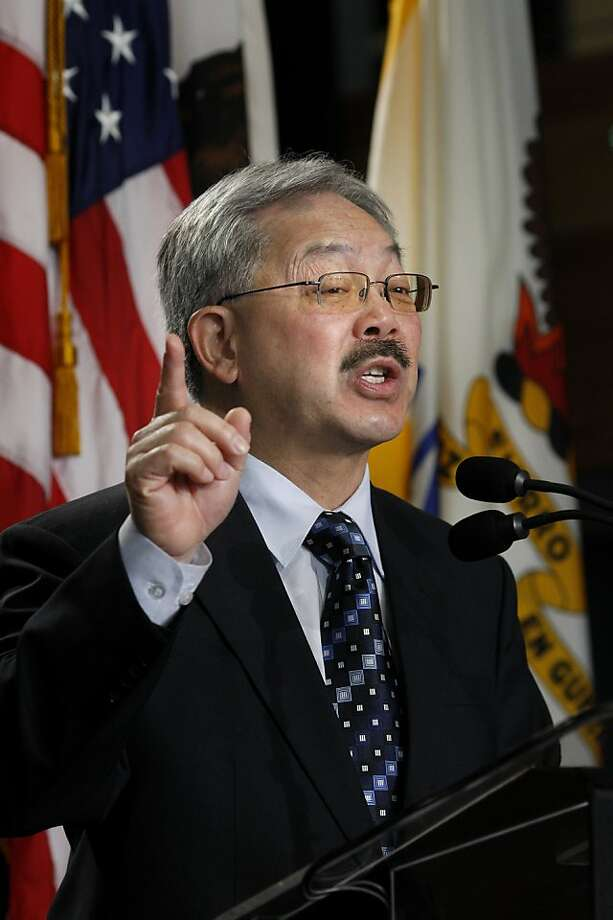 Mayor Ed Lee talked about changes to come in the housing authority. San Francisco Mayor Ed Lee held his first state of the city address Monday January 28, 2013 at College Track  (on Third Street) since taking office. Photo: Brant Ward, The Chronicle