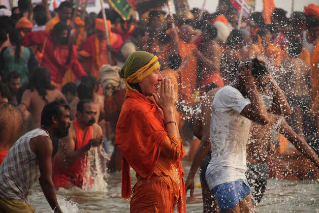 Millions of Hindu pilgrims are expected to take part in the large religious congregation of a period of over a month on the banks of Sangam during the Maha Kumbh Mela in January 2013, which falls every 12th year, where devotees wash themselves in the waters of the Ganges believing that it washes away their sins and ends the process of reincarnation. Photo: Deepak Sharma, ASSOCIATED PRESS / AP2013