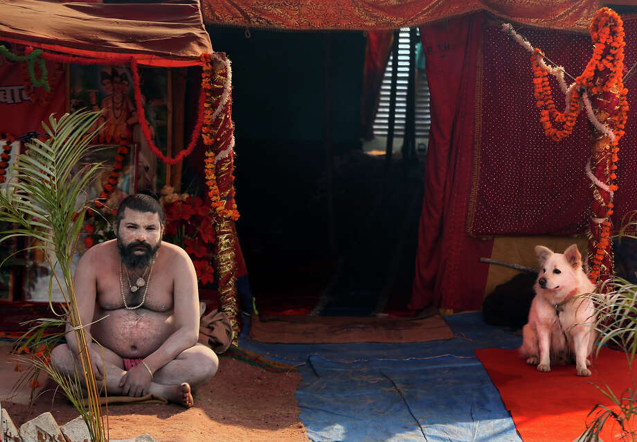 A naked Hindu holy man or a Naga Sadhu and his dog watches as devotees walk past his tent at Sangam, the confluence of the Rivers Ganges, Yamuna and mythical Saraswati during the Maha Kumbh Mela, in Allahabad, India, Tuesday, Jan. 15, 2013. Millions of devout Hindus led by naked ascetics with ash smeared on their bodies plunged into the frigid waters of India's holy Ganges River on Monday in a ritual they believe can wash away their sins. The ceremony in the northern city of Allahabad took place on the most auspicious day of the Kumbh Mela, or Pitcher Festival, one of the world's largest religious gatherings that lasts 55 days.(AP Photo /Manish Swarup) Photo: Manish Swarup, ASSOCIATED PRESS / AP2013