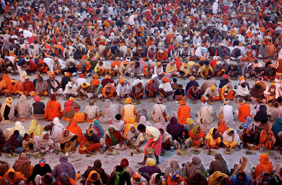 Millions of Hindu pilgrims are expected to attend the Maha Kumbh festival, which is one of the world's largest religious gatherings that lasts 55 days and falls every 12 years. During the festival pilgrims bathe in the holy Ganges River in a ritual they believe can wash away their sins. Photo: Rajesh Kumar Singh, ASSOCIATED PRESS / AP2013