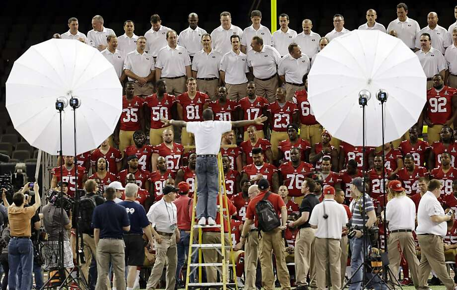 The San Francisco 49ers pose for a team photo during media day for the NFL Super Bowl XLVII football game Tuesday, Jan. 29, 2013, in New Orleans. (AP Photo/Gerald Herbert) Photo: Gerald Herbert, Associated Press