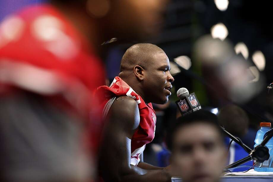 Frank Gore speaks to the press as the 49ers attended media day at the Super Dome in New Orleans, La., on Tuesday, January 29, 2013, as part of the Super Bowl festivities. Photo: Carlos Avila Gonzalez, The Chronicle