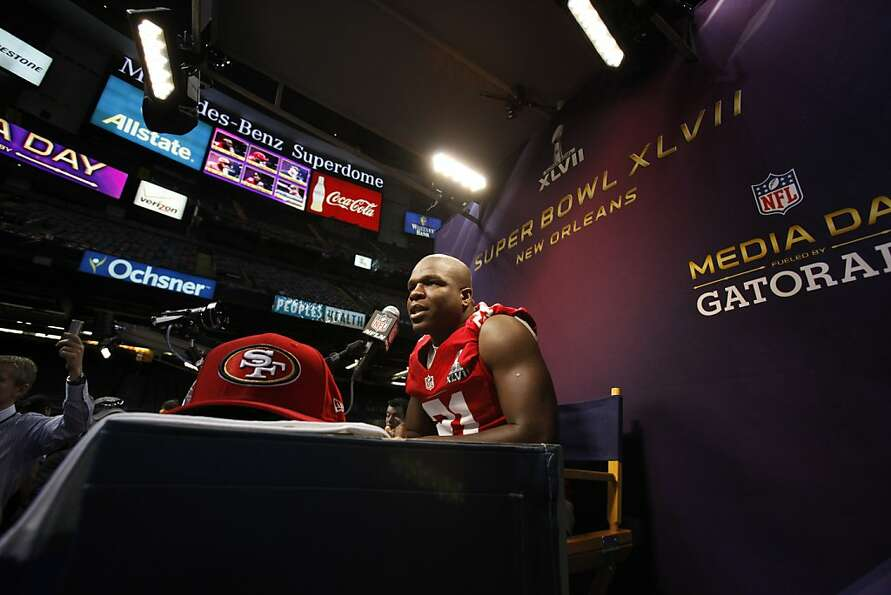 Frank Gore answers questions from the press as the 49ers attended media day at the Super Dome in New