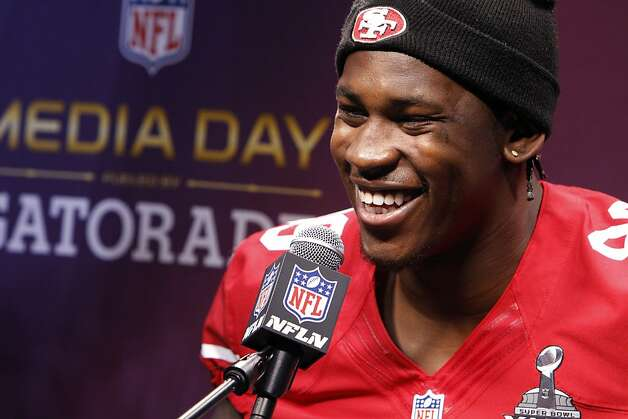 Aldon Smith smiles as he answers a question from the press as the 49ers attended media day at the Super Dome in New Orleans, La., on Tuesday, January 29, 2013, as part of the Super Bowl festivities. Photo: Carlos Avila Gonzalez, The Chronicle
