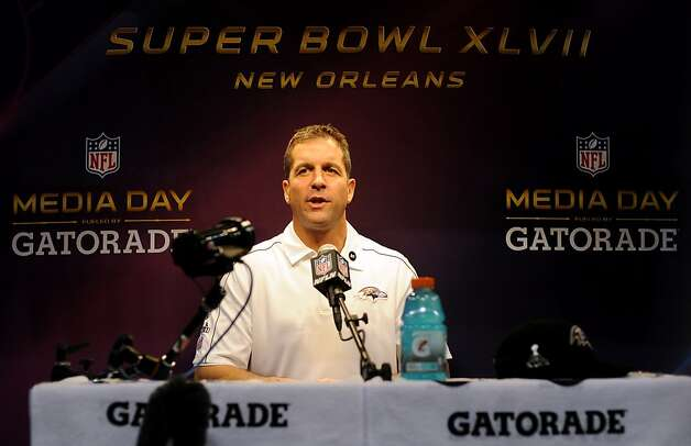 NEW ORLEANS, LA - JANUARY 29: Head coach John Harbaugh of the Baltimore Ravens answers questions from the media during Super Bowl XLVII Media Day ahead of Super Bowl XLVII at the Mercedes-Benz Superdome on January 29, 2013 in New Orleans, Louisiana. The San Francisco 49ers will take on the Baltimore Ravens on February 3, 2013 at the Mercedes-Benz Superdome.  (Photo by Michael Heiman/Getty Images) Photo: Michael Heiman, Getty Images