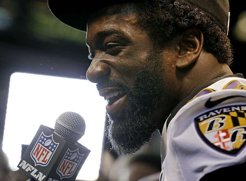 Baltimore Ravens safety Ed Reed speaks during media day for the NFL Super Bowl XLVII football game T
