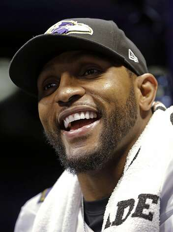 Baltimore Ravens linebacker Ray Lewis smiles during media day for the NFL Super Bowl XLVII football game Tuesday, Jan. 29, 2013, in New Orleans. (AP Photo/Mark Humphrey) Photo: Mark Humphrey, Associated Press