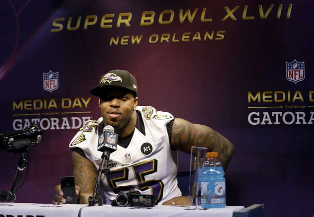 Baltimore Ravens linebacker Terrell Suggs answers a question during media day for the NFL Super Bowl XLVII football game Tuesday, Jan. 29, 2013, in New Orleans. (AP Photo/Pat Semansky) Photo: Pat Semansky, Associated Press