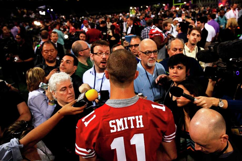 Alex Smith answers questions from the press as the 49ers attended media day at the Super Dome in New Orleans, La., on Tuesday, January 29, 2013, as part of the Super Bowl festivities. Photo: Carlos Avila Gonzalez, The Chronicle / ONLINE_YES