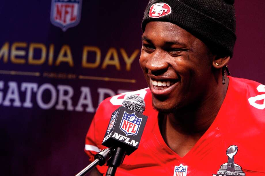 Aldon Smith smiles as he answers a question from the press as the 49ers attended media day at the Super Dome in New Orleans, La., on Tuesday, January 29, 2013, as part of the Super Bowl festivities. Photo: Carlos Avila Gonzalez, The Chronicle / ONLINE_YES
