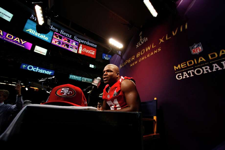 Frank Gore answers questions from the press as the 49ers attended media day at the Super Dome in New Orleans, La., on Tuesday, January 29, 2013, as part of the Super Bowl festivities. Photo: Carlos Avila Gonzalez, The Chronicle / ONLINE_YES