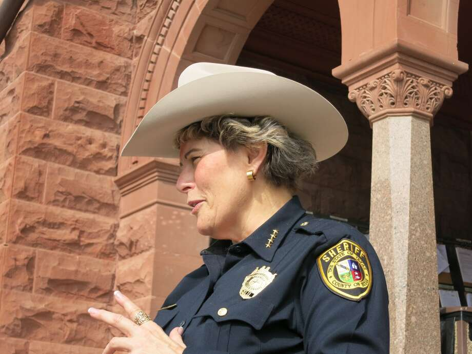 Sheriff Susan Pamerleau sports a Stetson hat at the Bexar County Courthouse on Tuesday, where she announced a dress policy change to allow deputies the option of wearing a Stetson on duty. Photo: John W. Gonzalez
