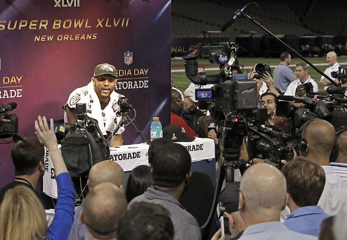 Raven's Ray Lewis, 52 talks to reporters during Media Day at the Mercedes-Benz Superdome the site of this year's Superbowl between the San Francisco 49ers and the Baltimore Ravens in New Orleans, La. on Tues. Jan. 29, 2013.