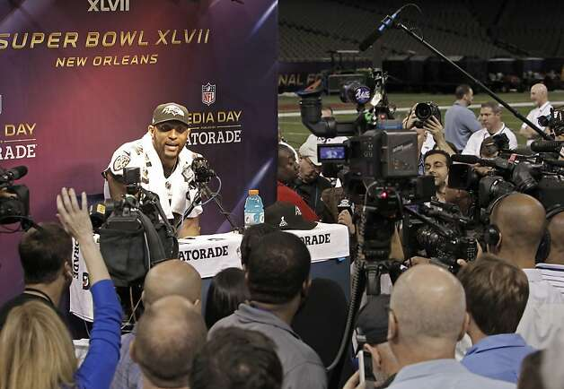 Raven's Ray Lewis, 52 talks to reporters during Media Day at the Mercedes-Benz Superdome the site of this year's Superbowl between the San Francisco 49ers and the Baltimore Ravens in New Orleans, La. on Tues. Jan. 29, 2013. Photo: Michael Macor, The Chronicle