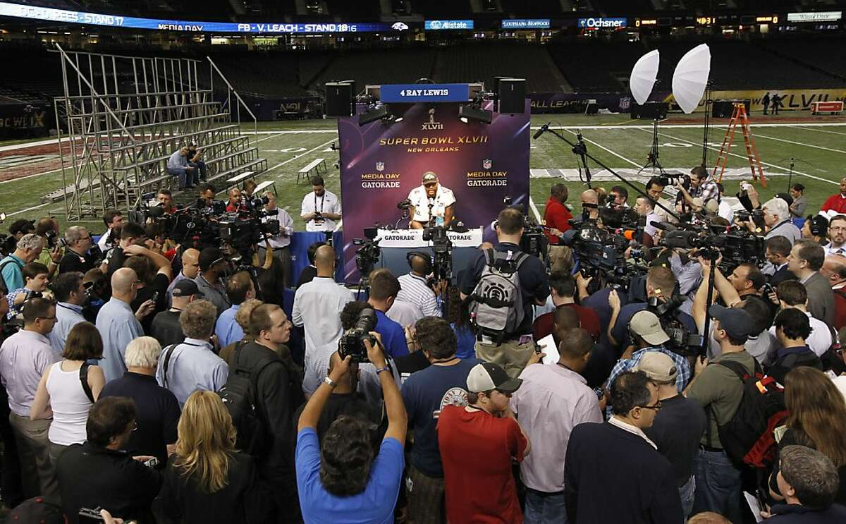 Raven's Ray Lewis, 52, is surrounded by reporters as Media Day gets underway at the Mercedes-Benz Superdome the site of this year's Superbowl between the San Francisco 49ers and the Baltimore Ravens in New Orleans, La. on Tues. Jan. 29, 2013.