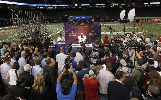 Ray Lewis drew a crowd - and unwelcome questions about drugs and crime - at Media Day. Photo: Michael Macor, The Chronicle