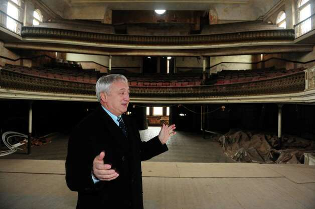 Derby Mayor Anthony Staffieri looks around the city's Sterling Opera House Tuesday, Jan. 29, 2013.  U.S. Rep. Rosa DeLauro recently secured a grant for $150,000 that will go toward interior renovations at the historic theater. Photo: Autumn Driscoll / Connecticut Post