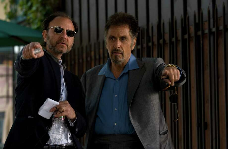 """Director Fisher Stevens and Al Pacino discuss a scene on the set of the new movie """"Stand Up Guys.""""    Director Fisher Stevens and Al Pacino discuss a scene on the set of the new movie """"Stand Up Guys."""" Photo: Roadside Attractions"""