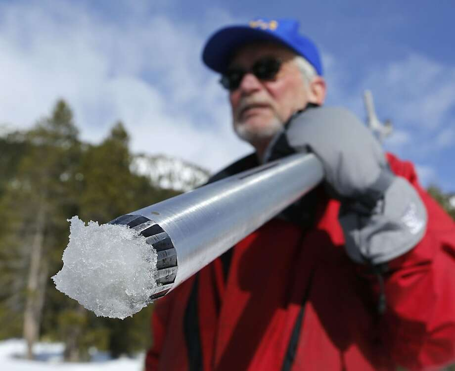 Frank Gehrke of the Department of Water Resources takes the first snow survey of the year, Jan. 29 at Echo Summit. Photo: Rich Pedroncelli, Associated Press