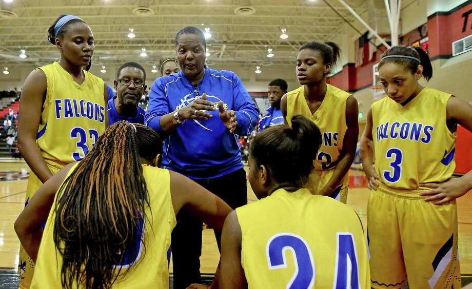 1/25/13:  Head coach Kim Lockett of Channelview talks to her players during a timeout against Port Arthur Memorial at Memorial High School In Port Arthur, Texas. Photo: Thomas B. Shea / © 2012 Thomas B. Shea