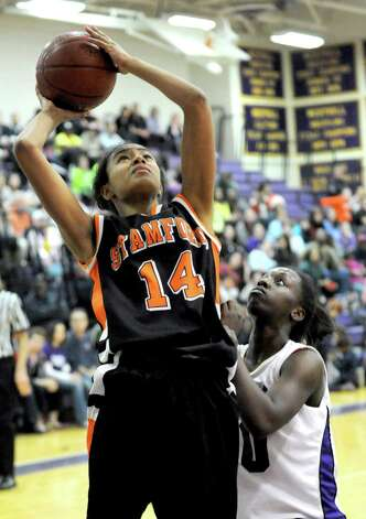 Stamford's Brianna Gordon takes a shot during Tuesday's girls basketball game at Westhill High School on January 29, 2013. Photo: Lindsay Perry / Stamford Advocate