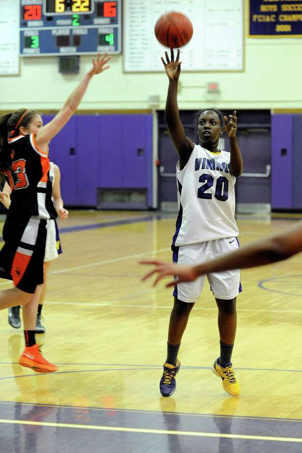 Westhill's Tyler Evans takes a shot during Tuesday's girls basketball game against Stamford High School at Westhill High School on January 29, 2013. Photo: Lindsay Perry / Stamford Advocate