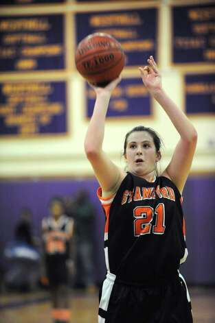 Stamford's Kelsey Santagata makes a free throw, tying the score with Stamford during Tuesday's girls basketball game at Westhill High School on January 29, 2013. Stamford couldn't hold on to the lead, however, and Westhill won the game. Photo: Lindsay Perry / Stamford Advocate