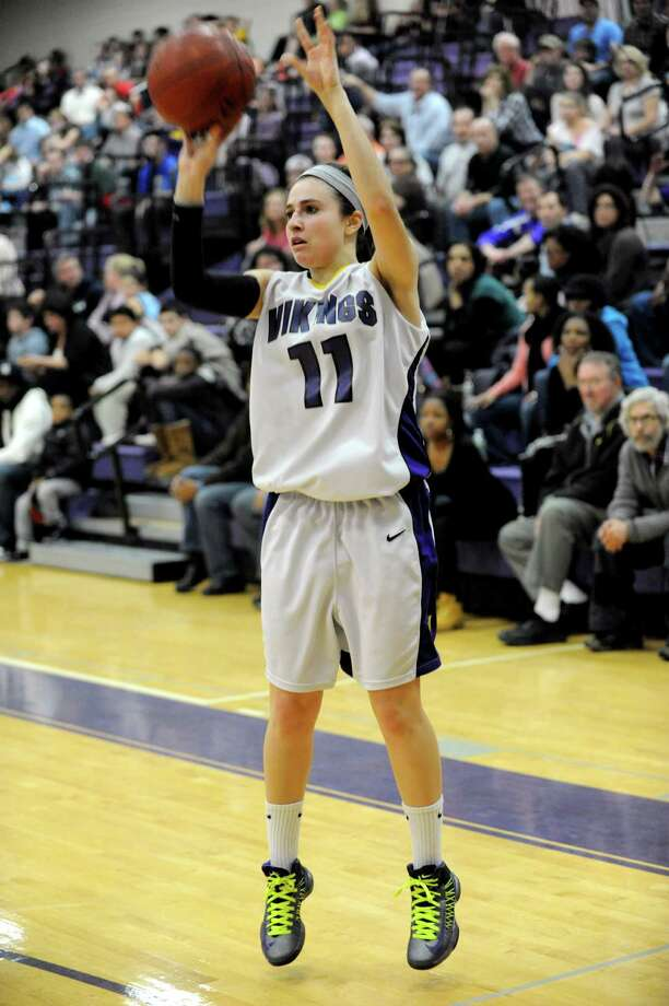 Westhill's Megan D'Alessandro takes a shotl during Tuesday's girls basketball game against Stamford at Westhill High School on January 29, 2013. Photo: Lindsay Perry / Stamford Advocate