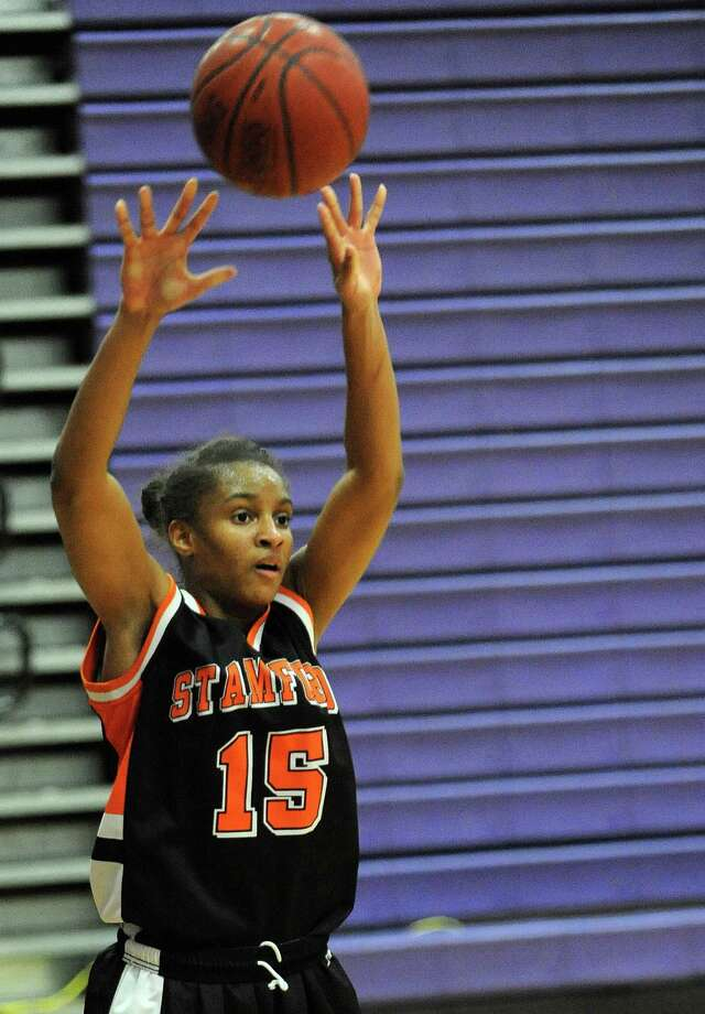 Stamford's Anisa Fortt takes a shot during Tuesday's girls basketball game at Westhill High School on January 29, 2013. Photo: Lindsay Perry / Stamford Advocate